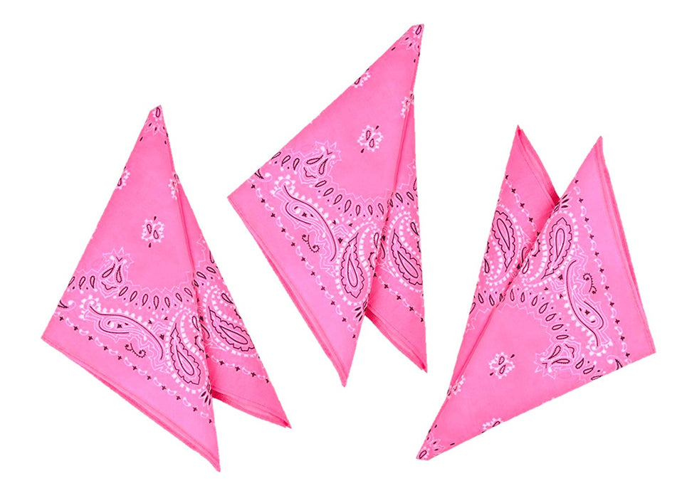 Play Kreative Pink Cowgirl Western Bandana - 12 Pack - PlayKreative.com