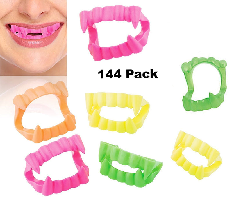 Play Kreative Neon Vampire Fangs, Halloween Neon Color Plastic Teeth Dentures - PlayKreative.com