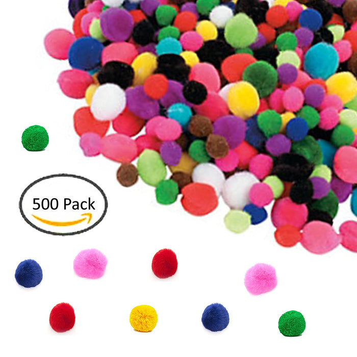 Play Kreative Assorted Pom Poms for DIY Creative Crafts Decorations - 500 Pack - PlayKreative.com