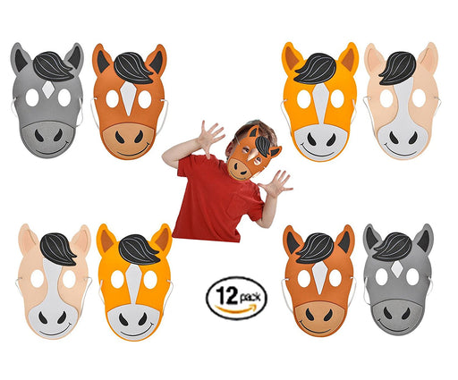 Play Kreative Kids Horse Foam Mask - 12 pk Farm Animal Masks - Zoo Party Costume - PlayKreative.com
