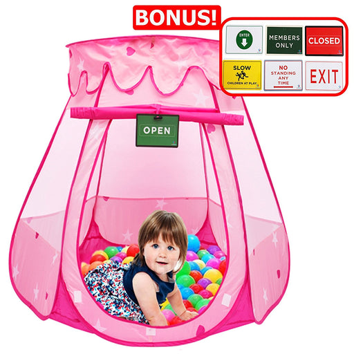 Play Kreative Pink Princess POP UP TENT with carry Case. Girls Pink Playhouse with Red Hearts for indoor/outdoor Kids Playtime Activities – Lovely Birthday Gift for Her - PlayKreative.com
