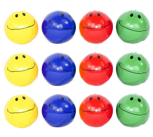 12 Mini Inflatable Smiley Face Beach Balls 6-inch Assorted Colors - Pool Toys Pa - PlayKreative.com
