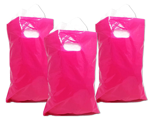 Play Kreative Hot Pink Treat / Goody Plastic Bags ~ Party Favor - Pack of 50 - PlayKreative.com