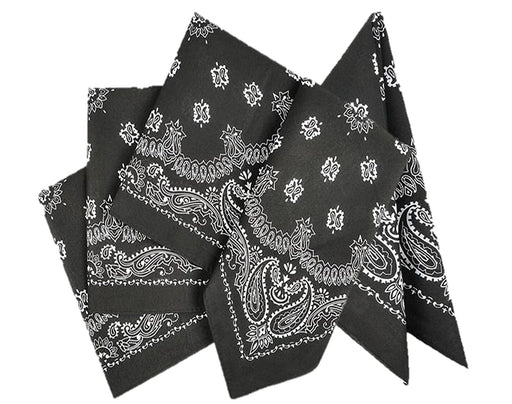 Play Kreative Black Cowboy Western Bandana - 12 Pack - PlayKreative.com