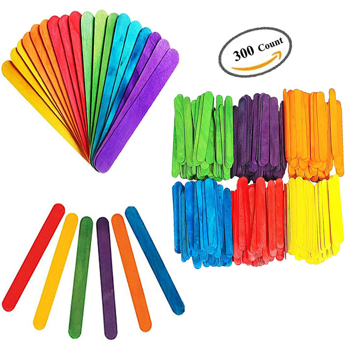 Play Kreative Colored Rainbow Craft Sticks - 300 Pack - PlayKreative.com