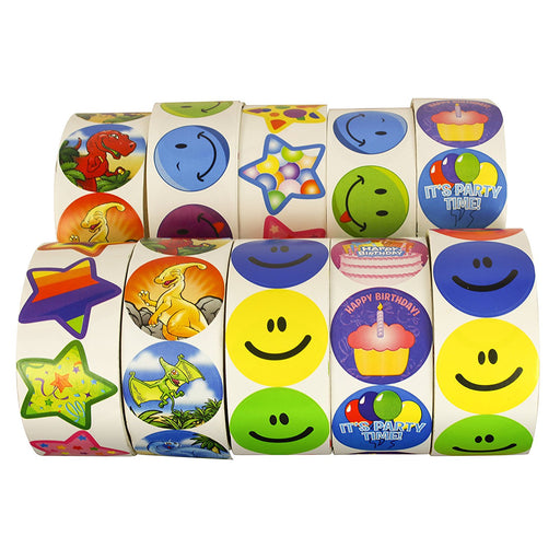 Super Sticker Assortment -1000 Stickers - 10 Rolls. Play Kreative TM - PlayKreative.com