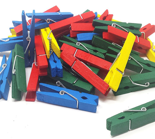 Play Kreative Bright Colored Wooden Clothespins -  50 Pack - PlayKreative.com
