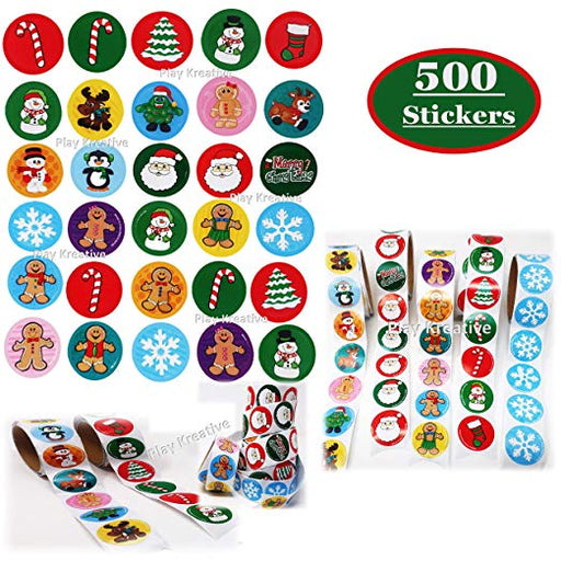 Christmas Holiday Sticker Roll Assortment  - 500 Stickers