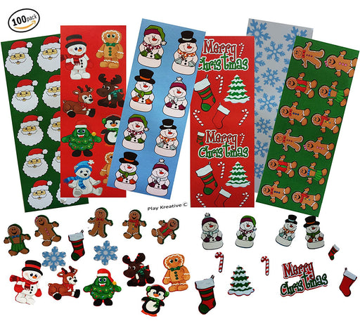 Play Kreative 100 Christmas Holiday Sticker Sheets for Bulk  Stocking Stuffers - PlayKreative.com