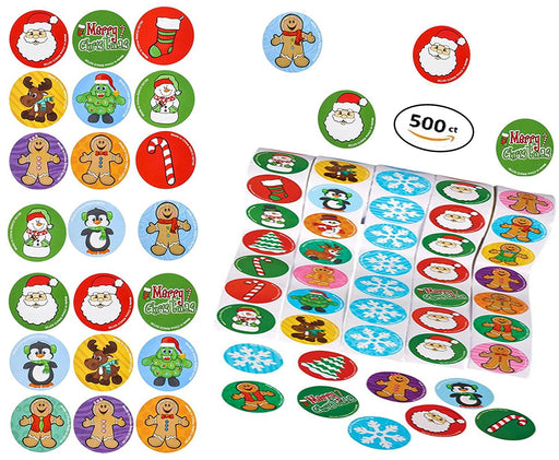 Play Kreative Christmas Holiday Sticker Roll Assortment  - 500 Stickers - PlayKreative.com