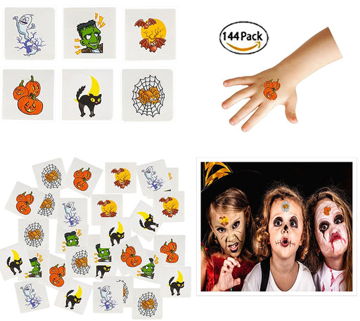 Play Kreative Halloween Temporary Tattoos 144 Pack - Stick on Children Tattoos - PlayKreative.com