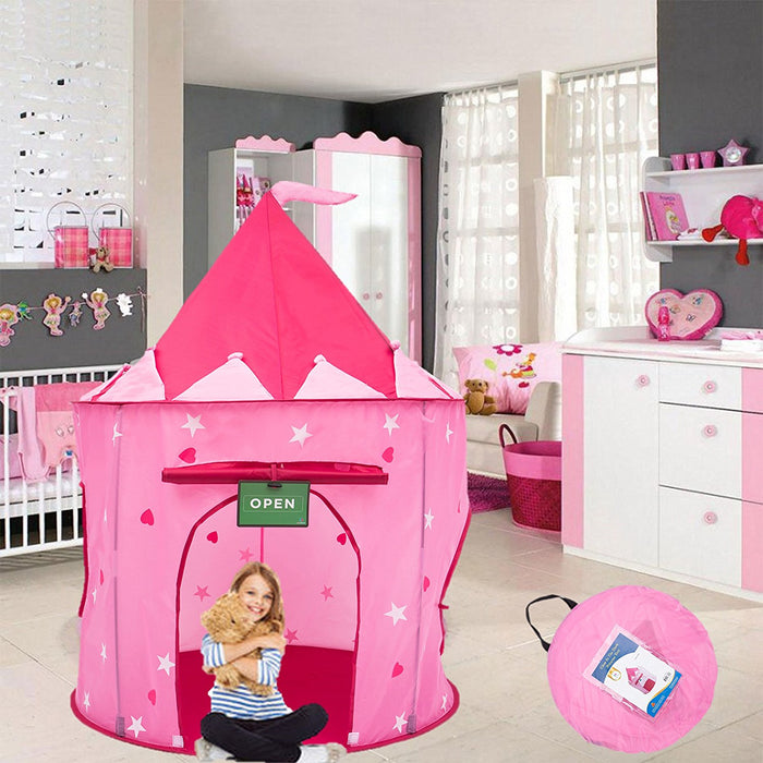 Play Kreative Glow In The Dark Pink Princess Castle Tent with Crawling Tunnel and Carry Case. Foldable pop up pink Castle Playhouse with Red Hearts for indoor outdoor Children fun activities - PlayKreative.com