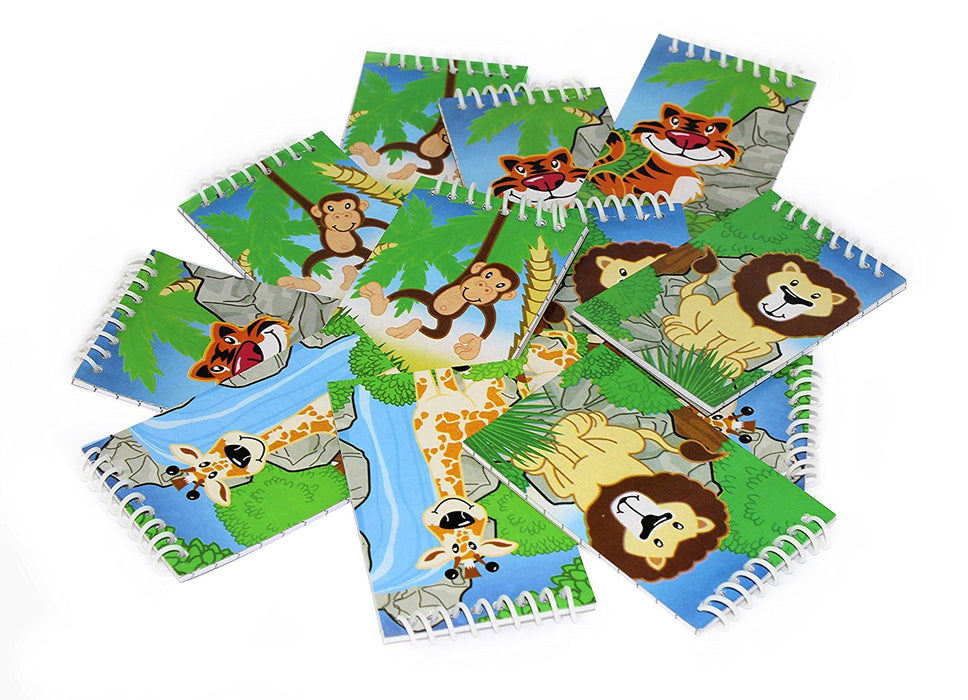 "12 Mini Assorted Zoo Jungle Spiral Notebooks 3"" - 1 Dz Animal Safari Memo Pads - PlayKreative.com"