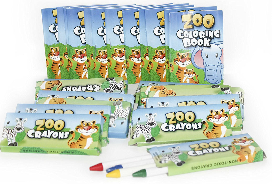 12 Sets Of Zoo Mini Coloring Books and Crayons - Zoo Animal Party Favors Sets In - PlayKreative.com