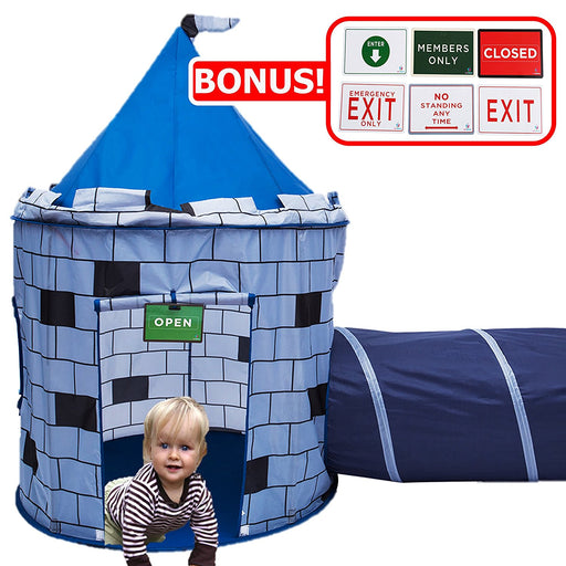 Play Kreative BLUE Knights Castle Tent with Crawling Tunnel and Carry Case. Portable Foldable popup Knights Castle Playhouse for indoor/outdoor Kids fun activities. Great Birthday Gift for Girl or Boy - PlayKreative.com