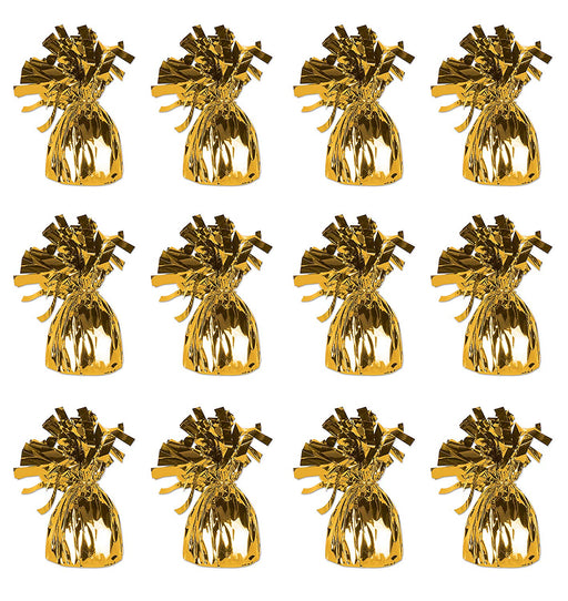 Gold Metallic  Balloon Weights - Pack of 12