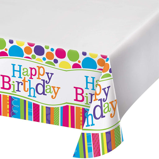 Happy Birthday Plastic Table Cover - 54 by 108 Inch