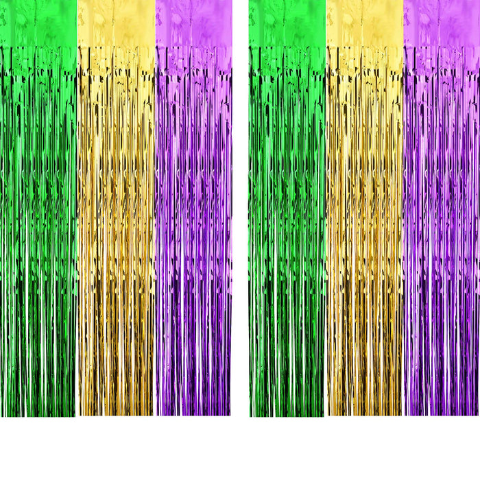 Mardi Gras Metallic Fringe Door Curtain - 2 Pieces
