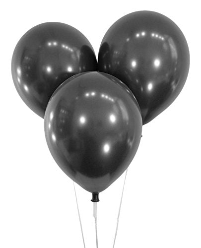Metallic Black 12 Inch Latex Balloons - Pack of 100 Pieces