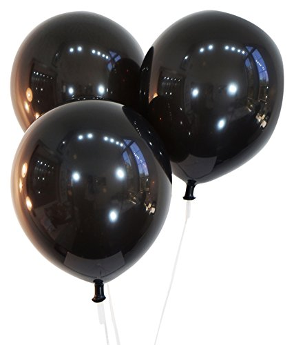 Midnight Black 12 Inch Latex Balloons - Pack of 100 Pieces