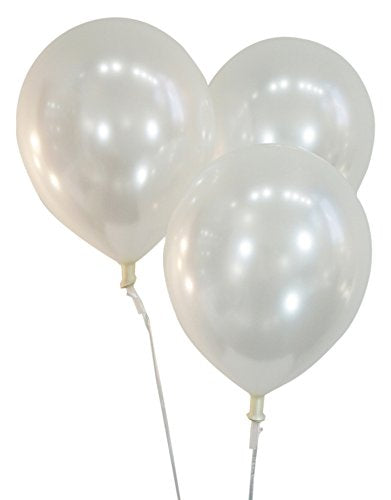 Pearlized White 12 Inch Latex Balloons - Pack of 100 Pieces