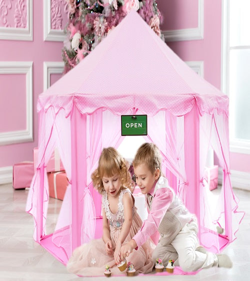 Play Kreative Pink Princess CASTLE Gazebo TENT with carry Case. Girls Playhouse