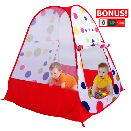 Play Kreative Red Ball Pit Pop up TENT with carry Case. Baby Colorful Polka Dot