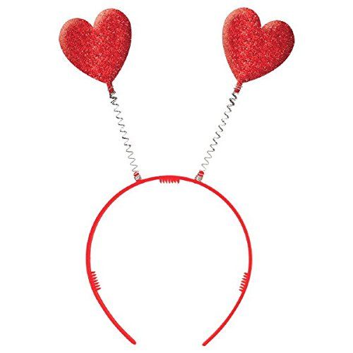 Valentine Red Plastic Heart Headbopper  - Party Hair Accessory