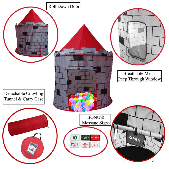 Play Kreative Red Knights Castle Tent with Crawling Tunnel and Carry Case