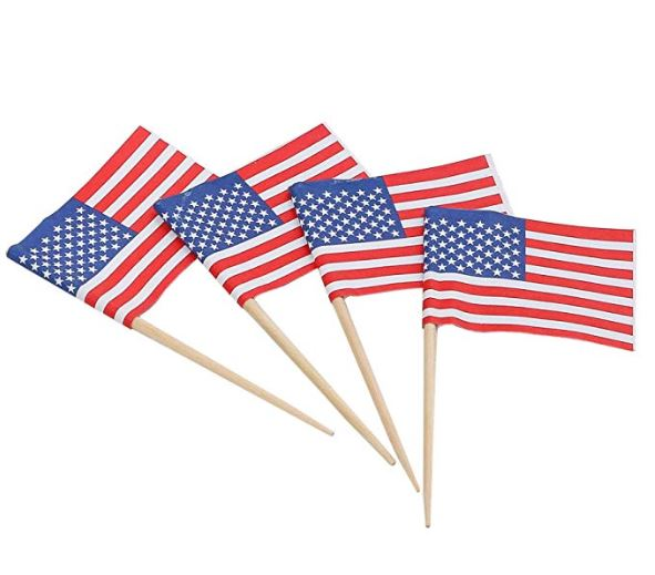 USA Flag Cake Picks for Fourth of July - Pack of 144
