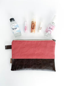 The Traveler's Set + Bag: Rose Canvas w/ Coffee Bean Faux Leather