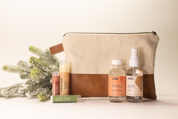 The Traveler's Set + Bag: Vanilla Canvas w/ Cognac Leather