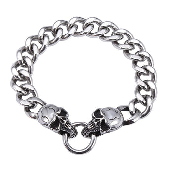 Double Skull Stainless Steel Men Trendy Bracelets
