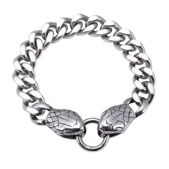 Double Snake Head Stainless Steel Bracelet