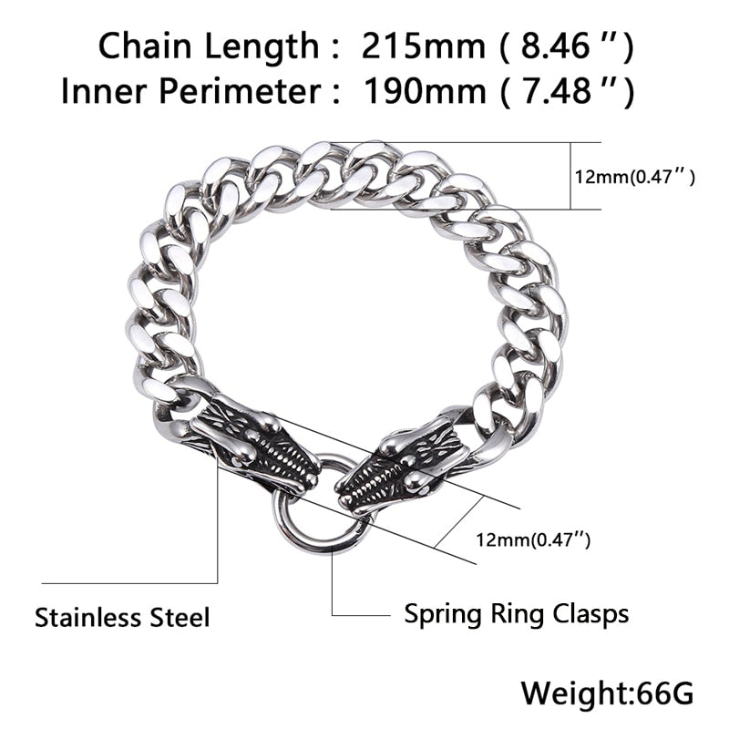 Double Dragon Head Stainless Steel Bracelet