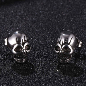 Stainless Steel Punk Skull Earrings