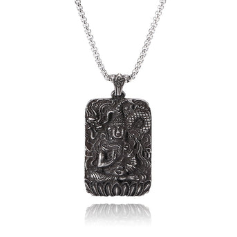 Stainless Steel Black Buddha Amulet Pendant Necklace