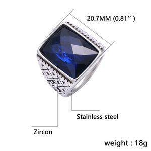 Retro Rectangular Stainless Steel Rings