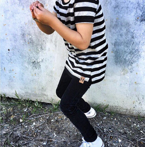 Beau Hudson Black and Grey Striped Tee