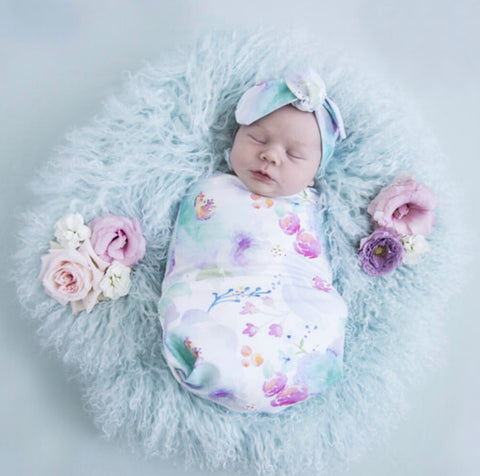 Sweet Petal Swaddle Sack and Beanie Set