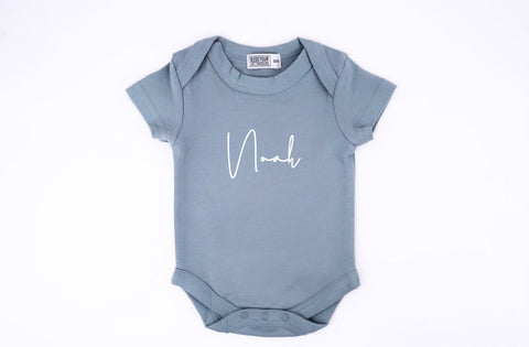 Personalised Powder Blue S/S Onesie - Fancy Font