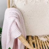 Blush Pink Diamond Knit Baby Blanket