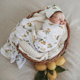 Lemon Jersey Wrap and Beanie Set
