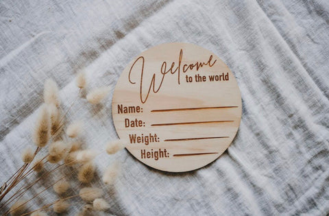 Welcome to the World Wooden Birth Announcement Disc