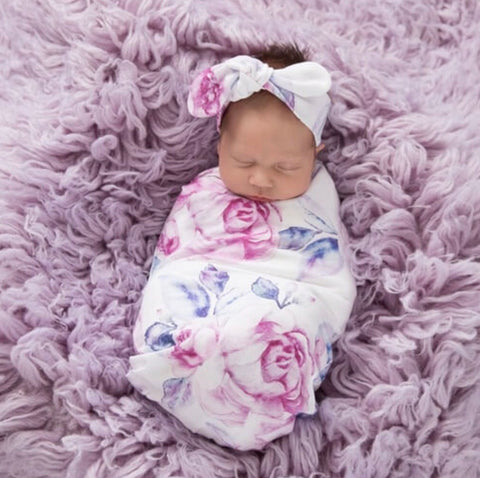 Lilac Skies Swaddle Sack and Beanie Set