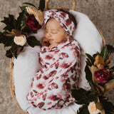 Fleur Swaddle Sack and Topknot Set