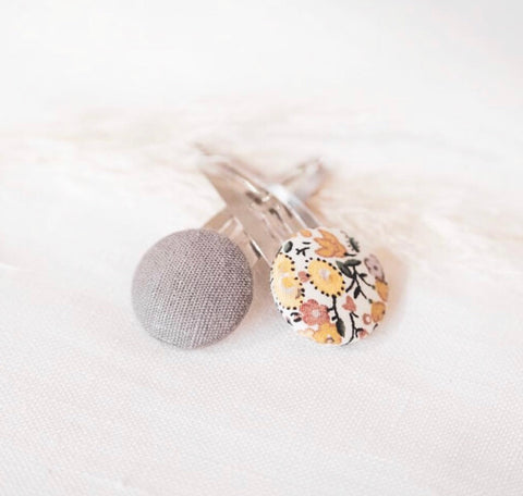 Floral and Grey Button Clip Set - Mae + Rae