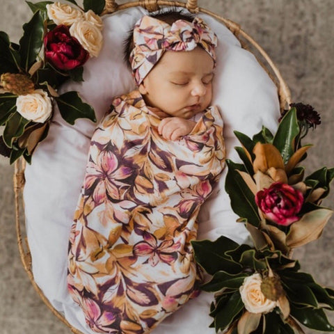 Leilani Swaddle Sack and Topknot Set
