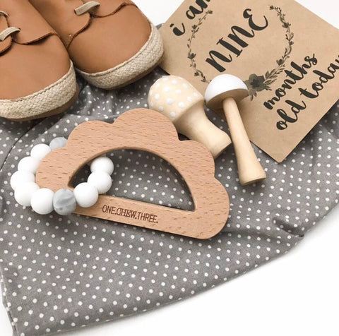 Cloud Silicone Beech Wood Teether