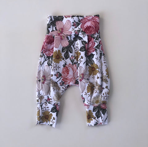 Simple Floral Harem Pants